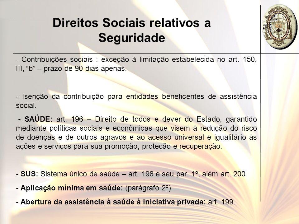 Direitos Sociais relativos a Seguridade - Contribuições sociais : exceção à limitação estabelecida no art. 150, III, b – prazo de 90 dias apenas. - Is