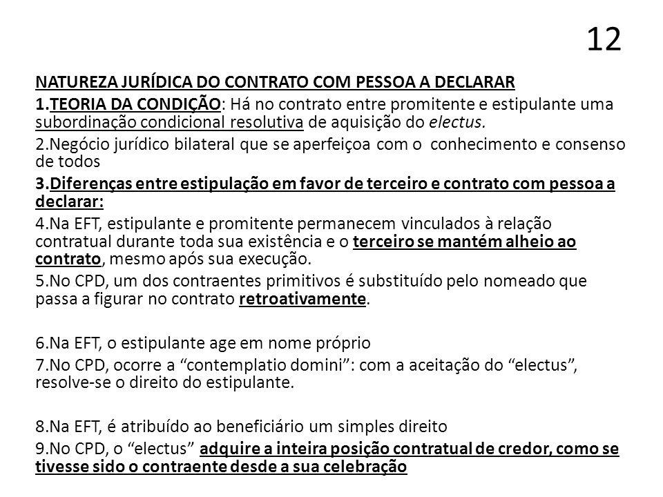 12 NATUREZA JURÍDICA DO CONTRATO COM PESSOA A DECLARAR 1.TEORIA DA CONDIÇÃO: Há no contrato entre promitente e estipulante uma subordinação condiciona