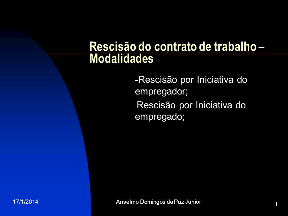 17/1/2014Anselmo Domingos da Paz Junior 1 -Rescisão por Iniciativa do empregador; - Rescisão por Iniciativa do empregado; Rescisão do contrato de trab