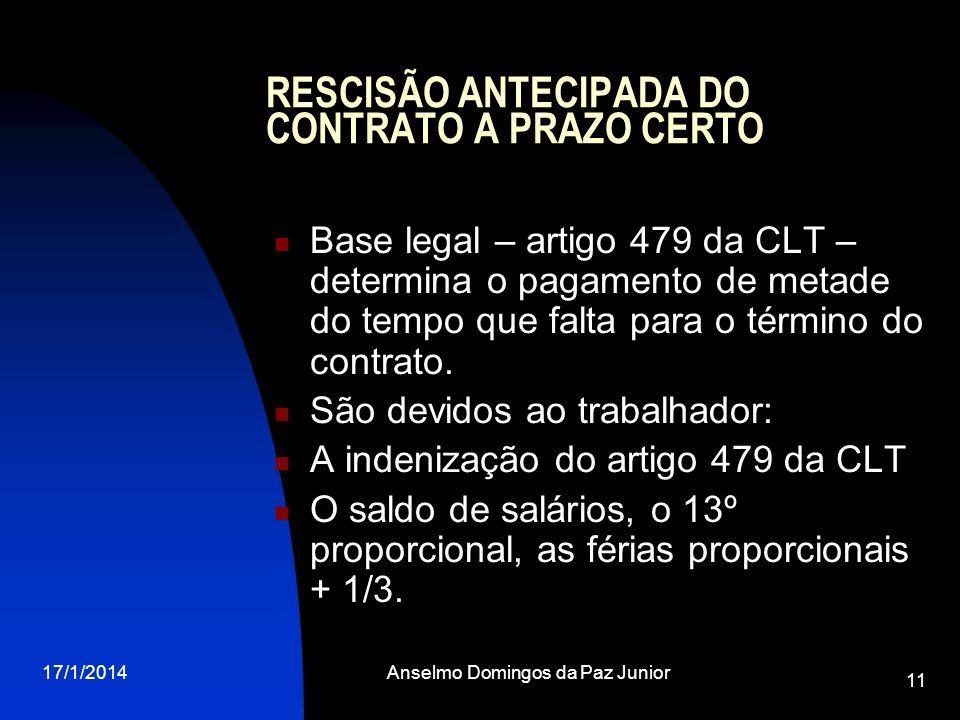 17/1/2014Anselmo Domingos da Paz Junior 11 RESCISÃO ANTECIPADA DO CONTRATO A PRAZO CERTO Base legal – artigo 479 da CLT – determina o pagamento de met