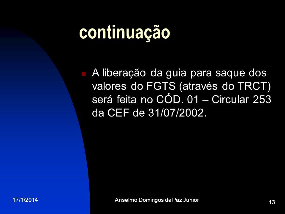 17/1/2014Anselmo Domingos da Paz Junior 13 continuação A liberação da guia para saque dos valores do FGTS (através do TRCT) será feita no CÓD. 01 – Ci