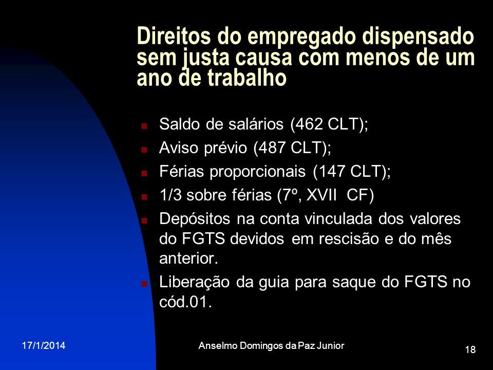 17/1/2014Anselmo Domingos da Paz Junior 18 Direitos do empregado dispensado sem justa causa com menos de um ano de trabalho Saldo de salários (462 CLT