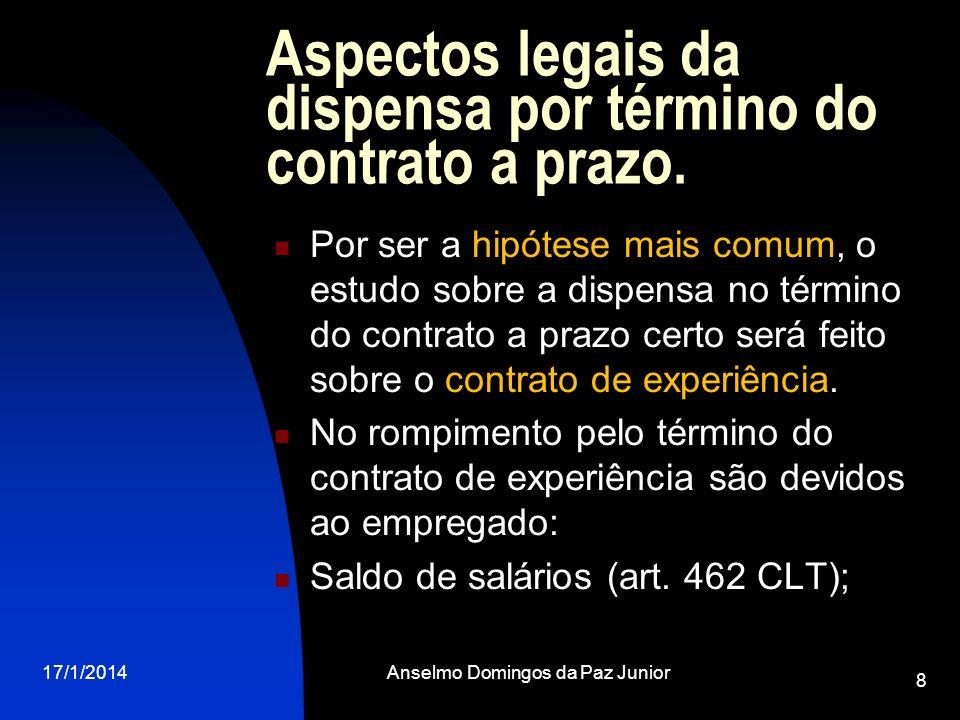 17/1/2014Anselmo Domingos da Paz Junior 8 Aspectos legais da dispensa por término do contrato a prazo. Por ser a hipótese mais comum, o estudo sobre a