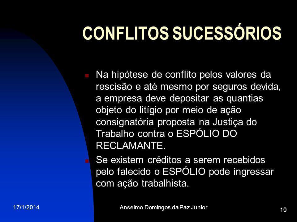17/1/2014Anselmo Domingos da Paz Junior 10 CONFLITOS SUCESSÓRIOS Na hipótese de conflito pelos valores da rescisão e até mesmo por seguros devida, a e