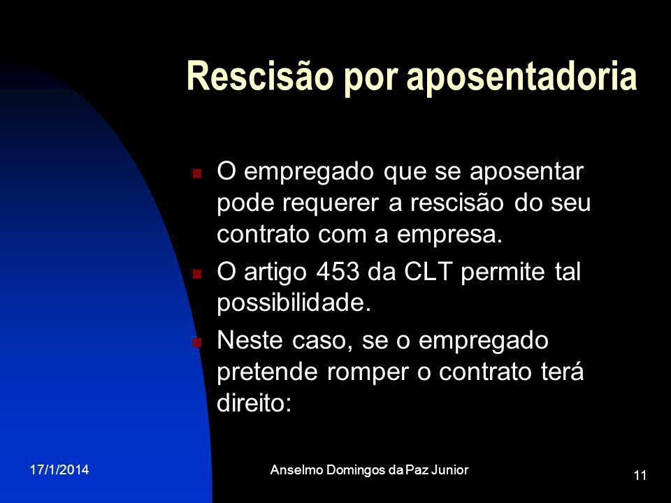 17/1/2014Anselmo Domingos da Paz Junior 11 Rescisão por aposentadoria O empregado que se aposentar pode requerer a rescisão do seu contrato com a empresa.