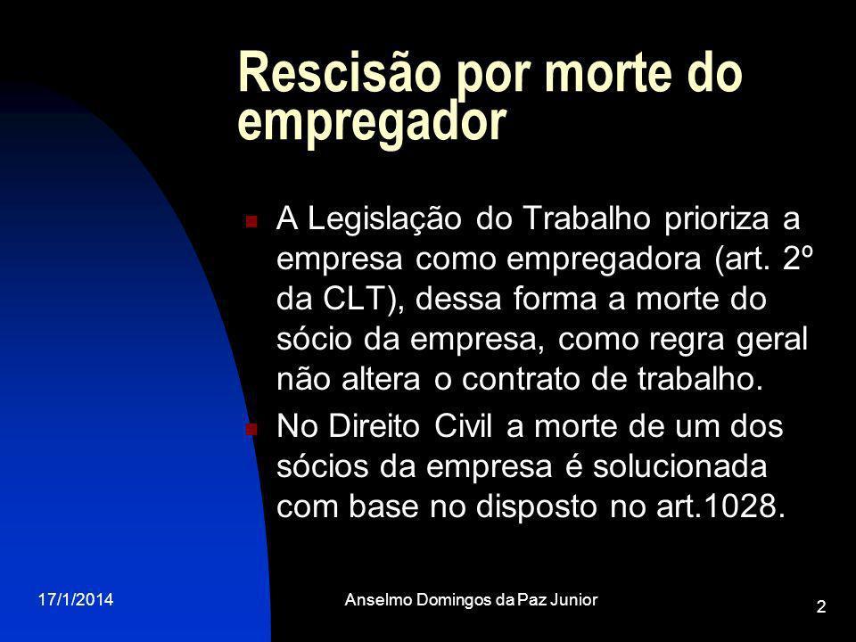 17/1/2014Anselmo Domingos da Paz Junior 2 Rescisão por morte do empregador A Legislação do Trabalho prioriza a empresa como empregadora (art.