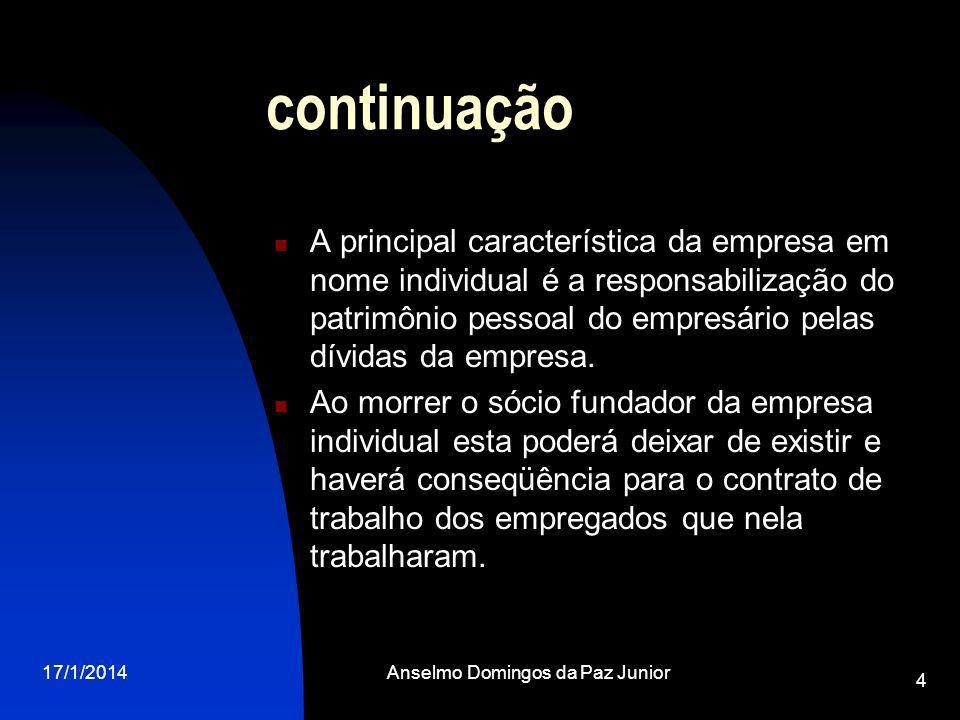 17/1/2014Anselmo Domingos da Paz Junior 4 continuação A principal característica da empresa em nome individual é a responsabilização do patrimônio pessoal do empresário pelas dívidas da empresa.