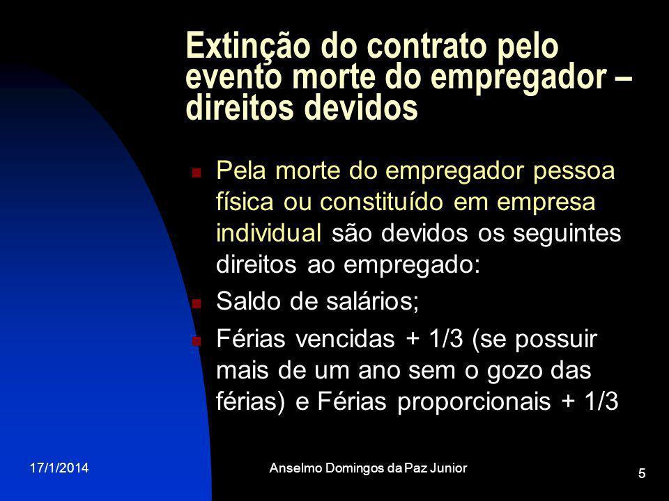 17/1/2014Anselmo Domingos da Paz Junior 5 Extinção do contrato pelo evento morte do empregador – direitos devidos Pela morte do empregador pessoa físi