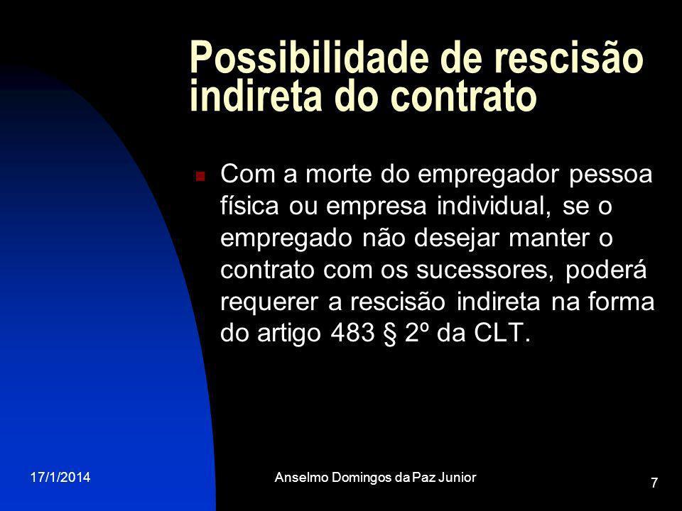 17/1/2014Anselmo Domingos da Paz Junior 7 Possibilidade de rescisão indireta do contrato Com a morte do empregador pessoa física ou empresa individual