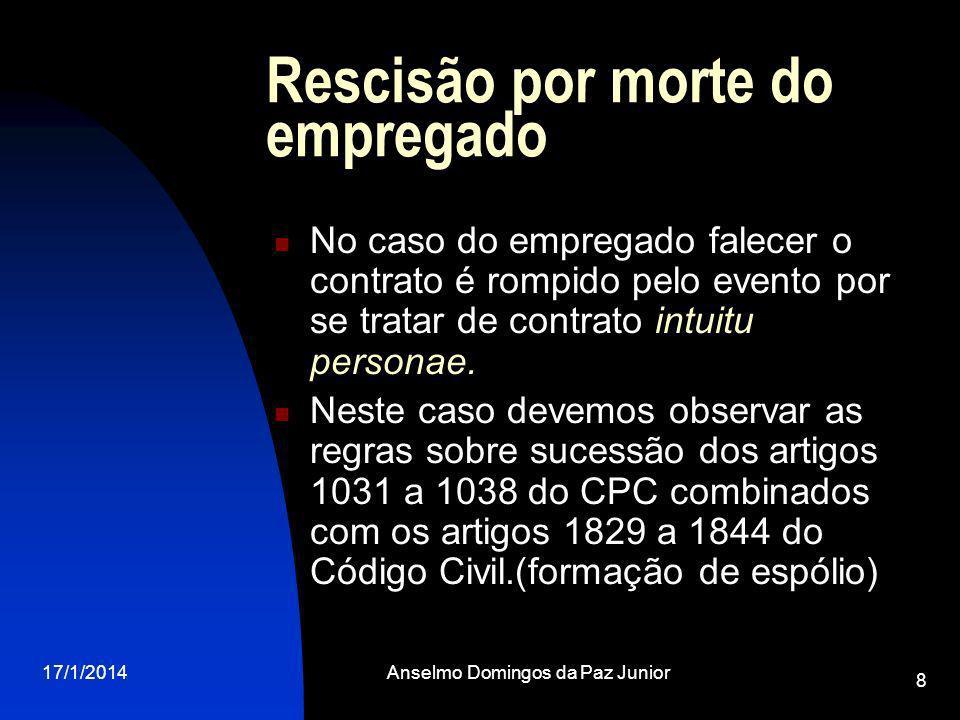 17/1/2014Anselmo Domingos da Paz Junior 8 Rescisão por morte do empregado No caso do empregado falecer o contrato é rompido pelo evento por se tratar de contrato intuitu personae.