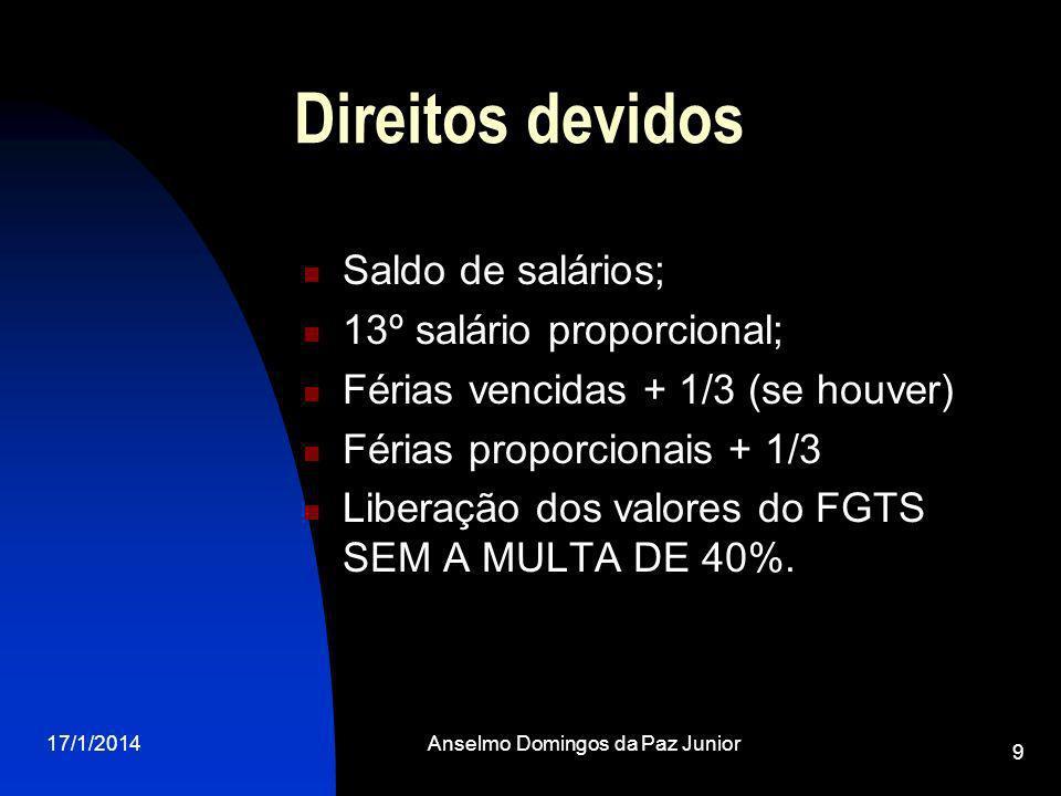 17/1/2014Anselmo Domingos da Paz Junior 9 Direitos devidos Saldo de salários; 13º salário proporcional; Férias vencidas + 1/3 (se houver) Férias proporcionais + 1/3 Liberação dos valores do FGTS SEM A MULTA DE 40%.