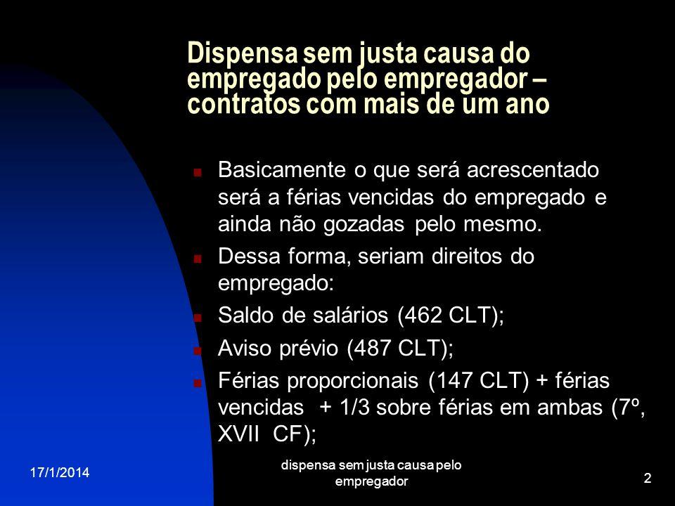 17/1/2014 dispensa sem justa causa pelo empregador 13 Continuação I) Abandono de emprego – dois requisitos: objetivo (lapso temporal – jurisprudência prevê 30 dias na Súmula 32 TST).