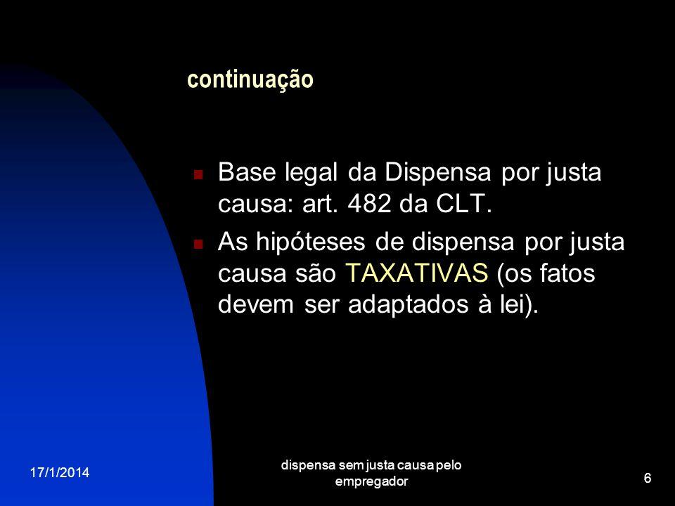 17/1/2014 dispensa sem justa causa pelo empregador 6 continuação Base legal da Dispensa por justa causa: art. 482 da CLT. As hipóteses de dispensa por