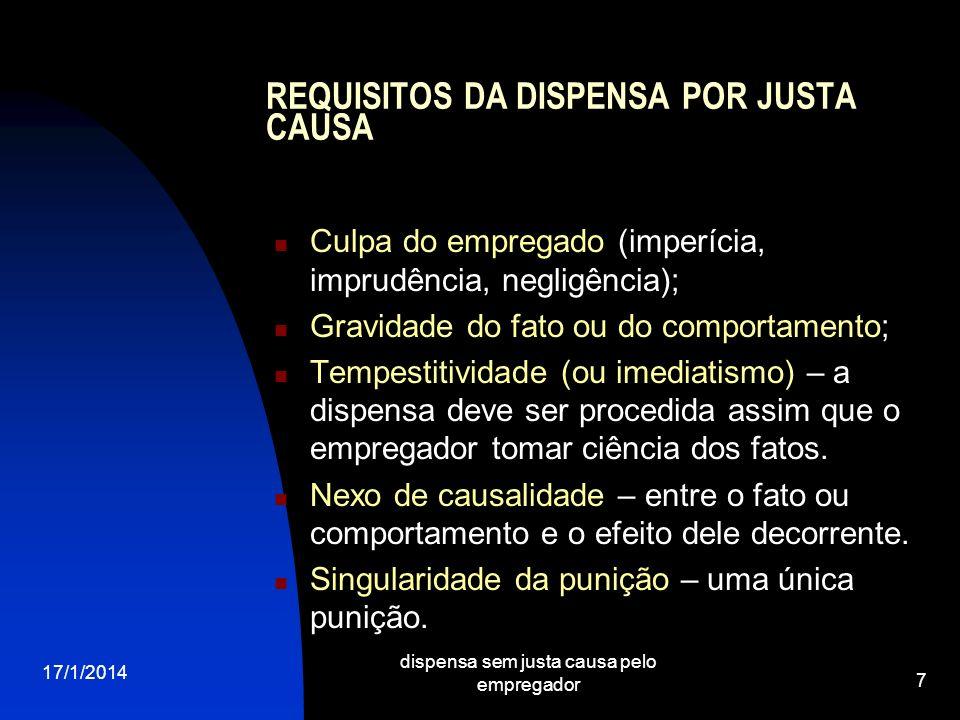 17/1/2014 dispensa sem justa causa pelo empregador 7 REQUISITOS DA DISPENSA POR JUSTA CAUSA Culpa do empregado (imperícia, imprudência, negligência);