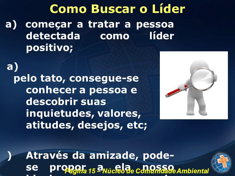 Como Buscar o Líder a) começar a tratar a pessoa detectada como líder positivo; a) pelo tato, consegue-se conhecer a pessoa e descobrir suas inquietud