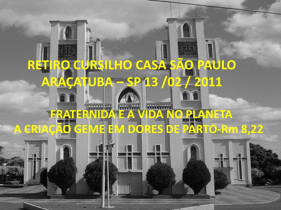 RETIRO CURSILHO CASA SÃO PAULO ARAÇATUBA – SP 13 /02 / 2011 FRATERNIDA E A VIDA NO PLANETA A CRIAÇÃO GEME EM DORES DE PARTO-Rm 8,22