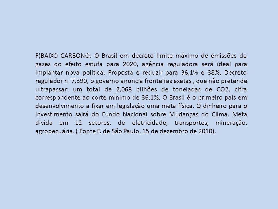F)BAIXO CARBONO: O Brasil em decreto limite máximo de emissões de gazes do efeito estufa para 2020, agência reguladora será ideal para implantar nova