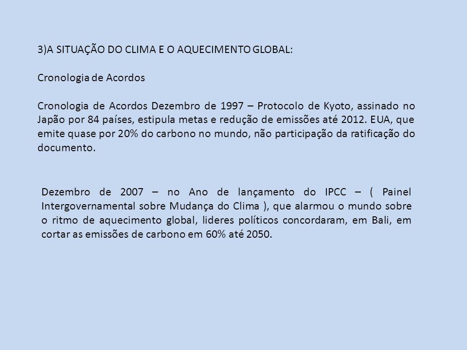 3)A SITUAÇÃO DO CLIMA E O AQUECIMENTO GLOBAL: Cronologia de Acordos Cronologia de Acordos Dezembro de 1997 – Protocolo de Kyoto, assinado no Japão por