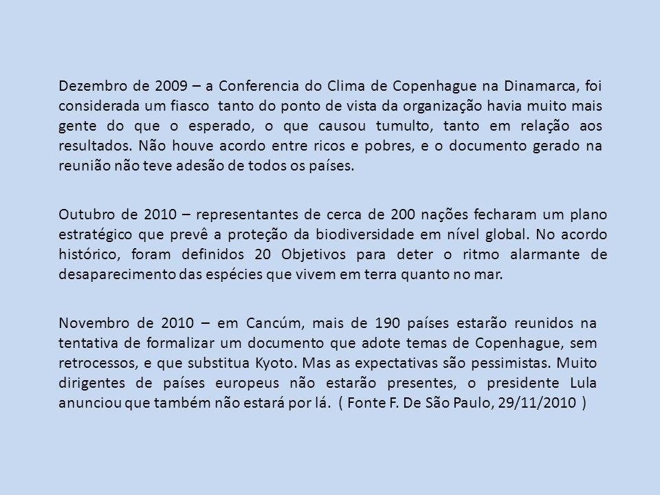 Dezembro de 2009 – a Conferencia do Clima de Copenhague na Dinamarca, foi considerada um fiasco tanto do ponto de vista da organização havia muito mai