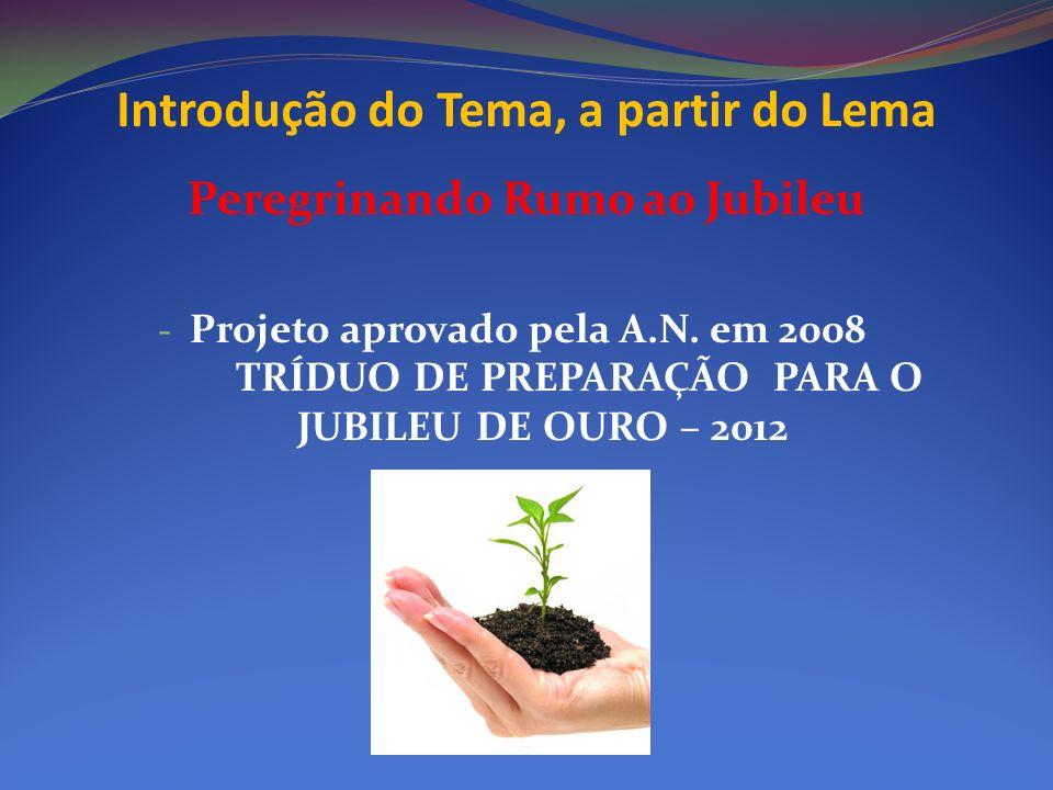 Peregrinando Rumo ao Jubileu - Projeto aprovado pela A.N. em 2008 TRÍDUO DE PREPARAÇÃO PARA O JUBILEU DE OURO – 2012 Introdução do Tema, a partir do L
