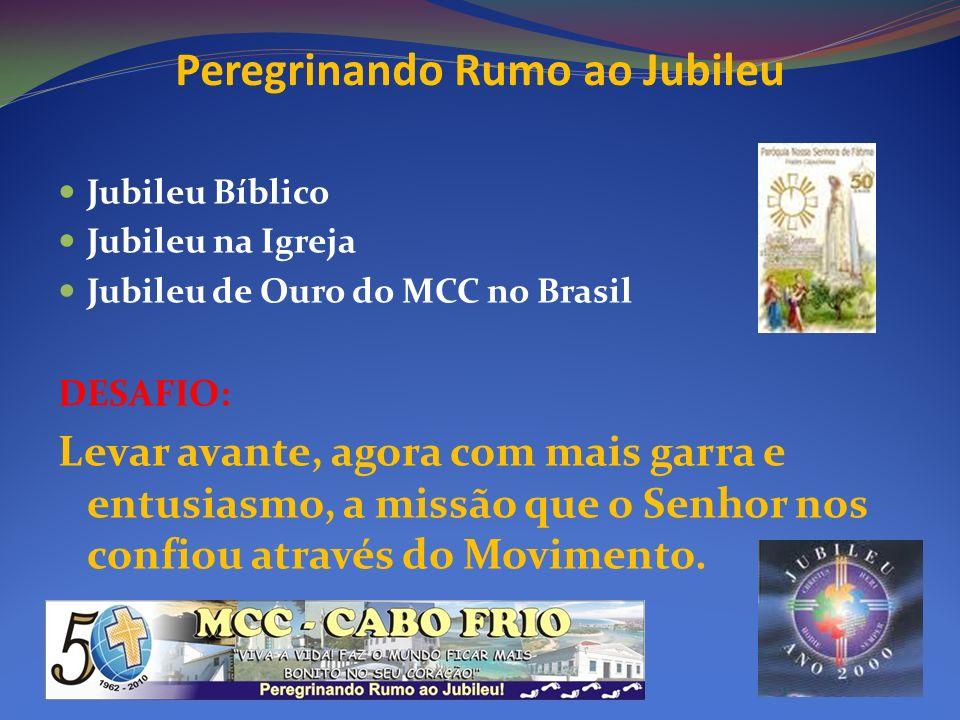 Peregrinando Rumo ao Jubileu Jubileu Bíblico Jubileu na Igreja Jubileu de Ouro do MCC no Brasil DESAFIO: Levar avante, agora com mais garra e entusias