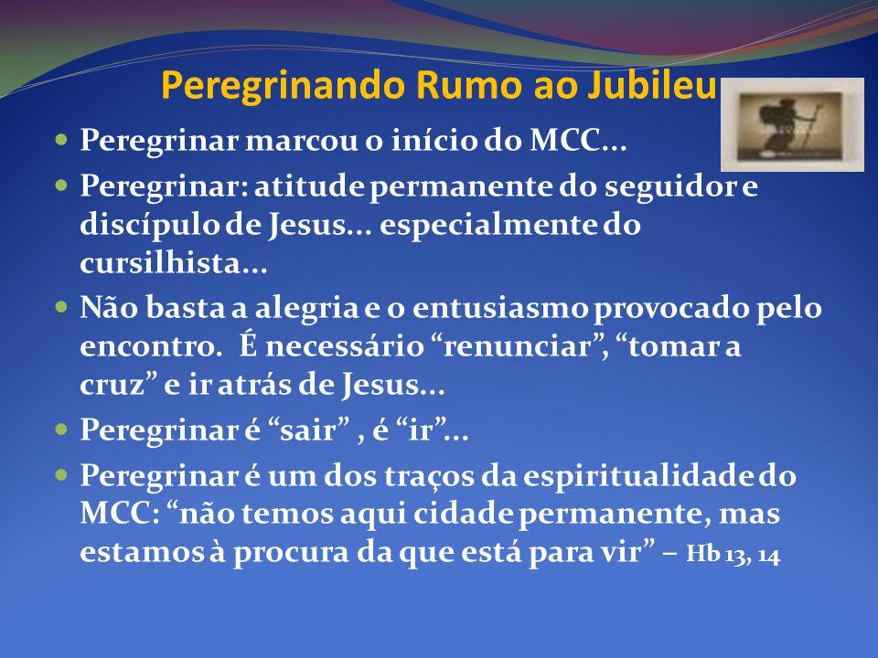 Peregrinando Rumo ao Jubileu Peregrinar marcou o início do MCC... Peregrinar: atitude permanente do seguidor e discípulo de Jesus... especialmente do