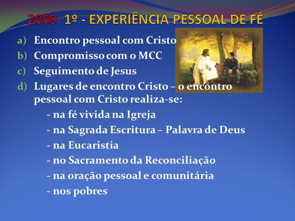 a) Encontro pessoal com Cristo b) Compromisso com o MCC c) Seguimento de Jesus d) Lugares de encontro Cristo – o encontro pessoal com Cristo realiza-s