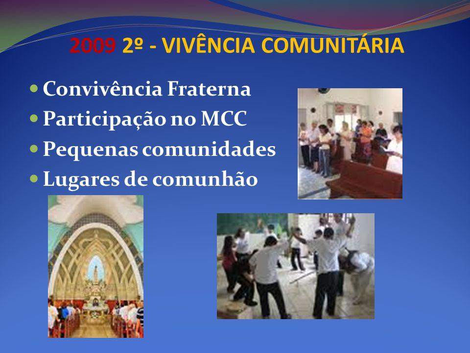 2009 2º - VIVÊNCIA COMUNITÁRIA Convivência Fraterna Participação no MCC Pequenas comunidades Lugares de comunhão