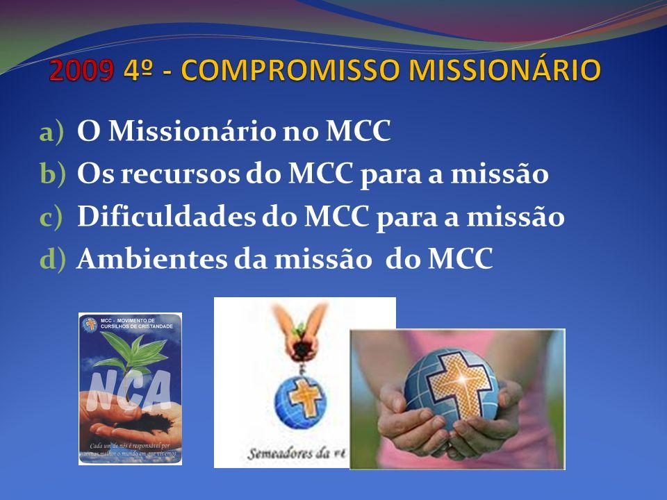 a) O Missionário no MCC b) Os recursos do MCC para a missão c) Dificuldades do MCC para a missão d) Ambientes da missão do MCC