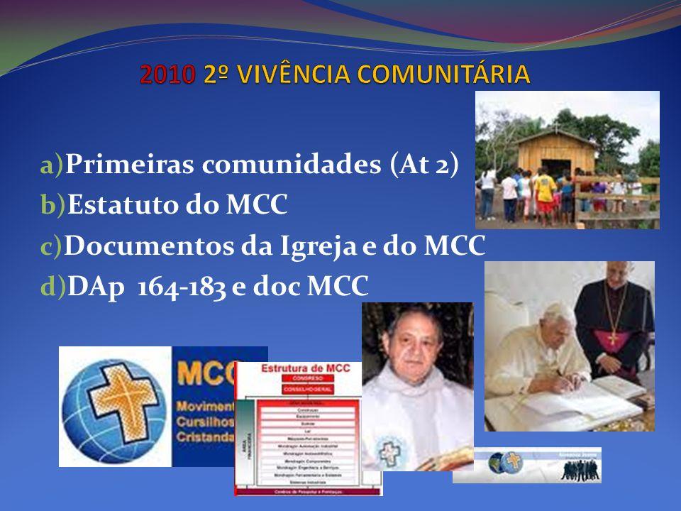 a) Primeiras comunidades (At 2) b) Estatuto do MCC c) Documentos da Igreja e do MCC d) DAp 164-183 e doc MCC