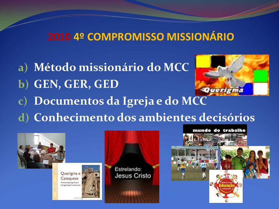 2010 4º COMPROMISSO MISSIONÁRIO a) Método missionário do MCC b) GEN, GER, GED c) Documentos da Igreja e do MCC d) Conhecimento dos ambientes decisório
