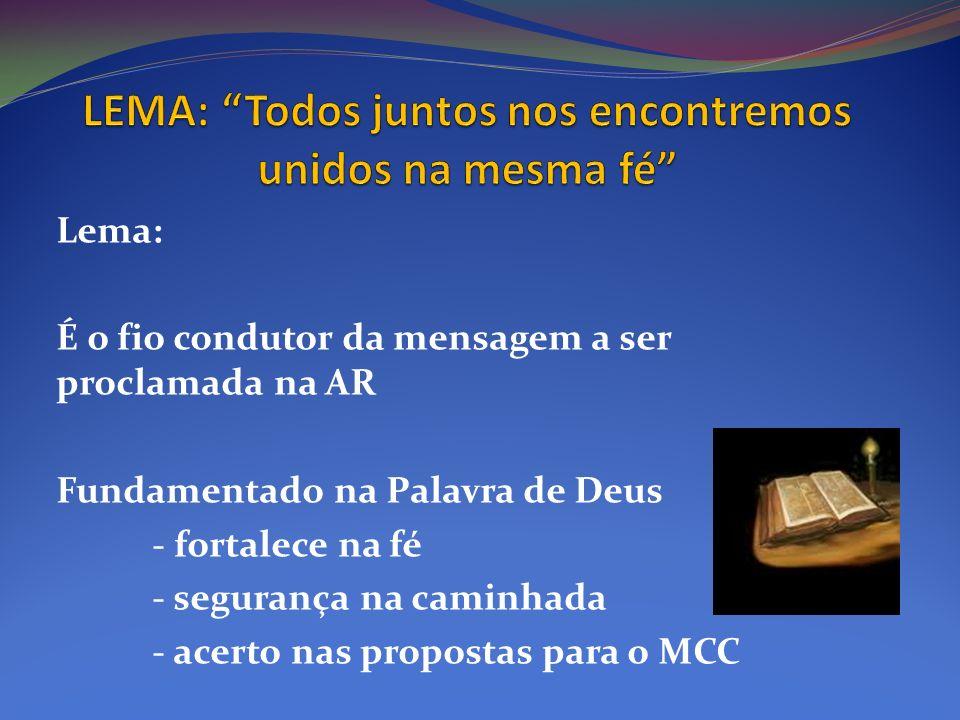 Lema: É o fio condutor da mensagem a ser proclamada na AR Fundamentado na Palavra de Deus - fortalece na fé - segurança na caminhada - acerto nas prop
