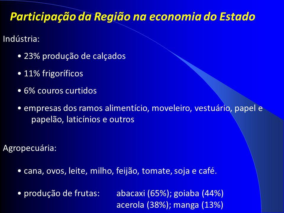 Participação da Região na economia do Estado Indústria: 23% produção de calçados 11% frigoríficos 6% couros curtidos empresas dos ramos alimentício, moveleiro, vestuário, papel e papelão, laticínios e outros Agropecuária: cana, ovos, leite, milho, feijão, tomate, soja e café.