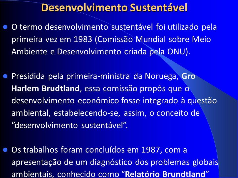 Desenvolvimento Sustentável O termo desenvolvimento sustentável foi utilizado pela primeira vez em 1983 (Comissão Mundial sobre Meio Ambiente e Desenvolvimento criada pela ONU).