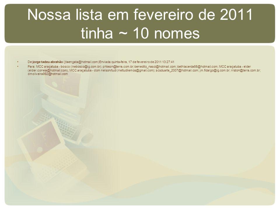 Nossa lista em fevereiro de 2011 tinha ~ 10 nomes De:jorge tadeu abrahão (jtaengata@hotmail.com)Enviada:quinta-feira, 17 de fevereiro de 2011 13:27:41