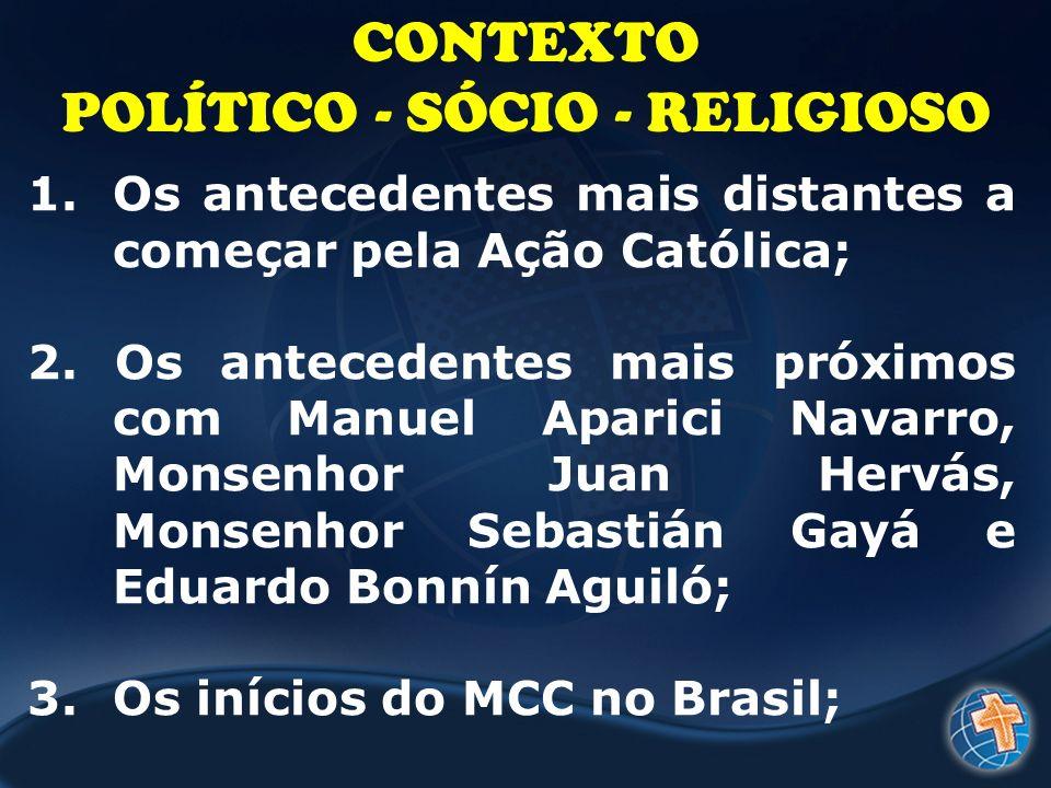 CONTEXTO POLÍTICO - SÓCIO - RELIGIOSO 1.Os antecedentes mais distantes a começar pela Ação Católica; 2. Os antecedentes mais próximos com Manuel Apari