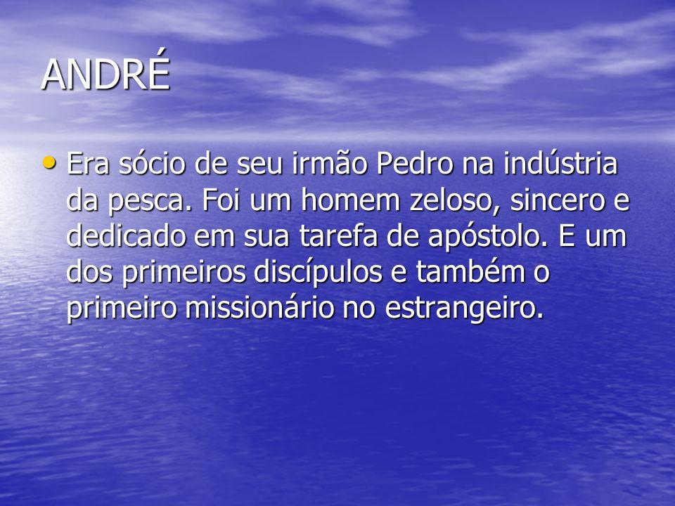 ANDRÉ Era sócio de seu irmão Pedro na indústria da pesca. Foi um homem zeloso, sincero e dedicado em sua tarefa de apóstolo. E um dos primeiros discíp