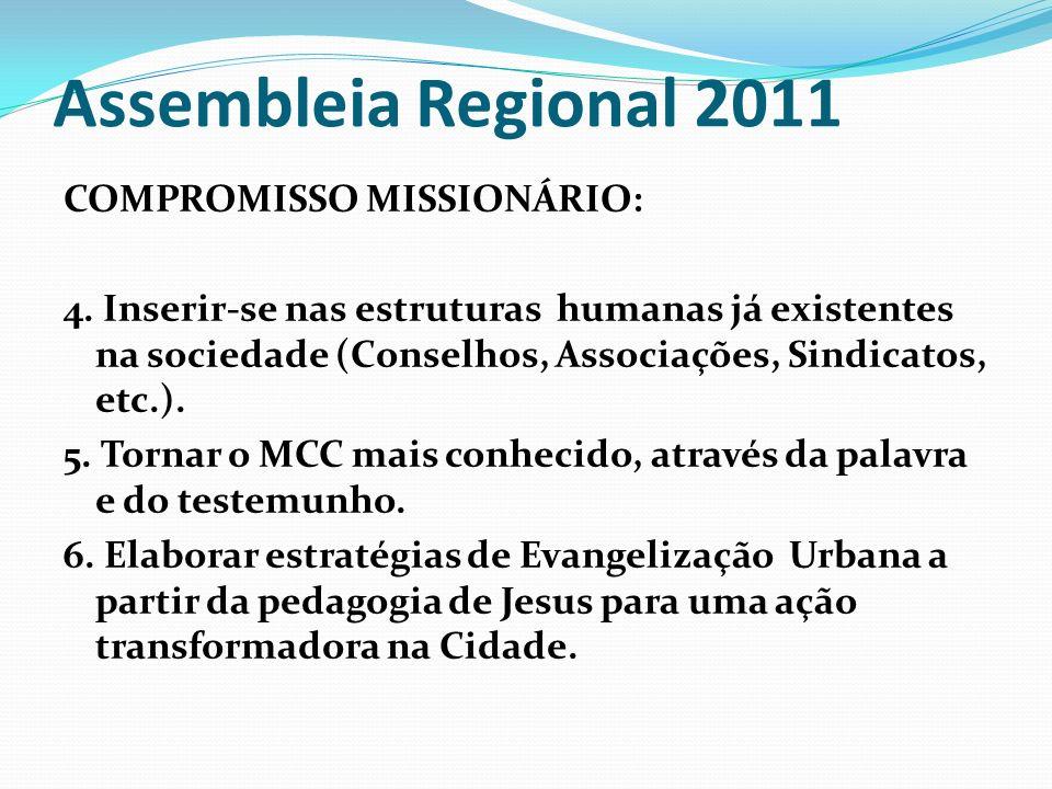 Assembleia Regional 2011 COMPROMISSO MISSIONÁRIO: 4. Inserir-se nas estruturas humanas já existentes na sociedade (Conselhos, Associações, Sindicatos,
