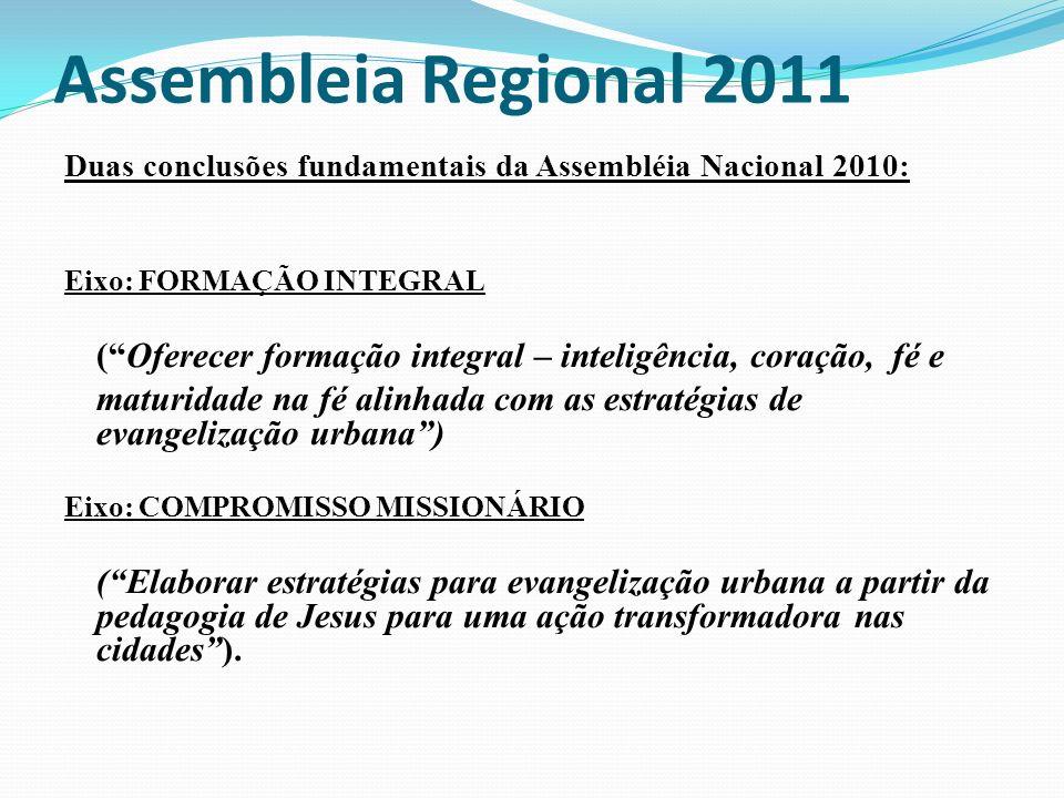 Assembleia Regional 2011 Duas conclusões fundamentais da Assembléia Nacional 2010: Eixo: FORMAÇÃO INTEGRAL (Oferecer formação integral – inteligência,