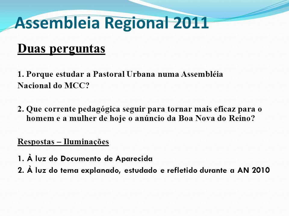 Assembleia Regional 2011 Duas perguntas 1. Porque estudar a Pastoral Urbana numa Assembléia Nacional do MCC? 2. Que corrente pedagógica seguir para to