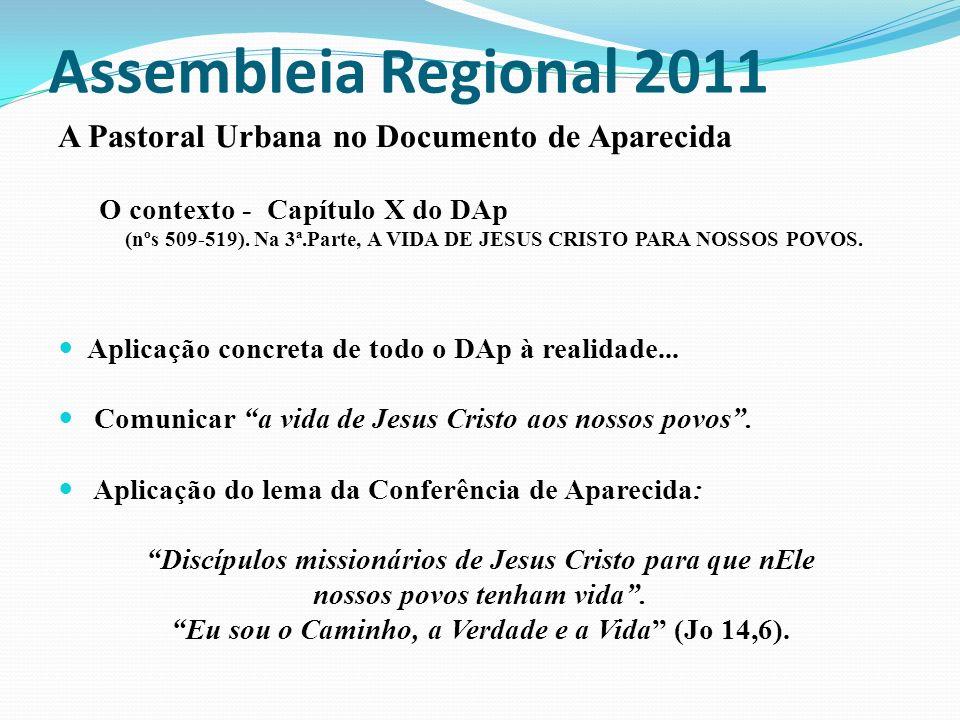 Assembleia Regional 2011 A Pastoral Urbana no Documento de Aparecida O contexto - Capítulo X do DAp (nºs 509-519). Na 3ª.Parte, A VIDA DE JESUS CRISTO