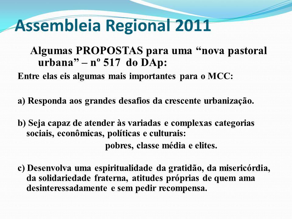 Assembleia Regional 2011 Algumas PROPOSTAS para uma nova pastoral urbana – nº 517 do DAp: Entre elas eis algumas mais importantes para o MCC: a) Respo