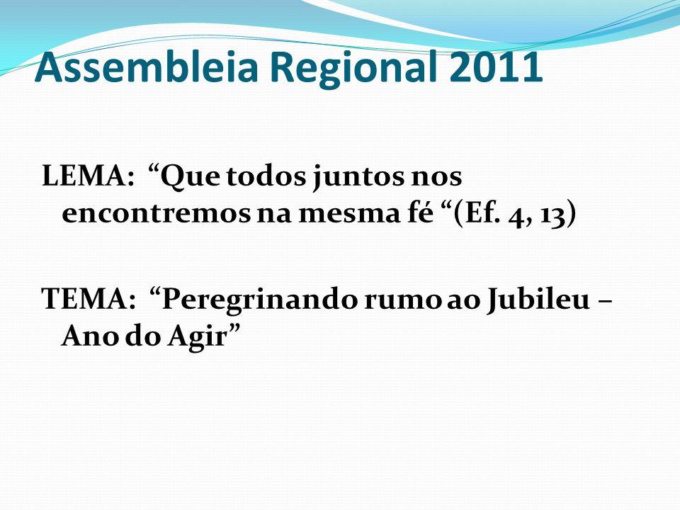 Assembleia Regional 2011 Ano do AGIR: 1º - Conhecer a realidade para a ação 2º - Proporcionar o seguimento a Cristo AGIR – Terceira fase do Tríduo preparatório para o Jubileu de Ouro do MCC