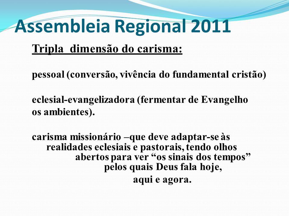 Assembleia Regional 2011 Tripla dimensão do carisma: pessoal (conversão, vivência do fundamental cristão) eclesial-evangelizadora (fermentar de Evange