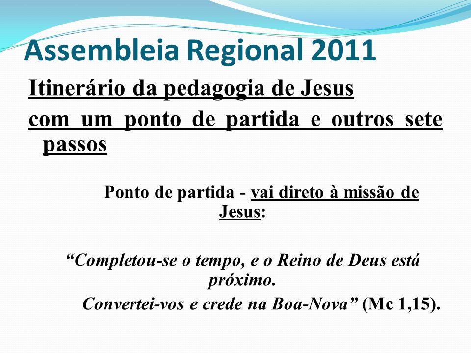 Assembleia Regional 2011 Itinerário da pedagogia de Jesus com um ponto de partida e outros sete passos Ponto de partida - vai direto à missão de Jesus