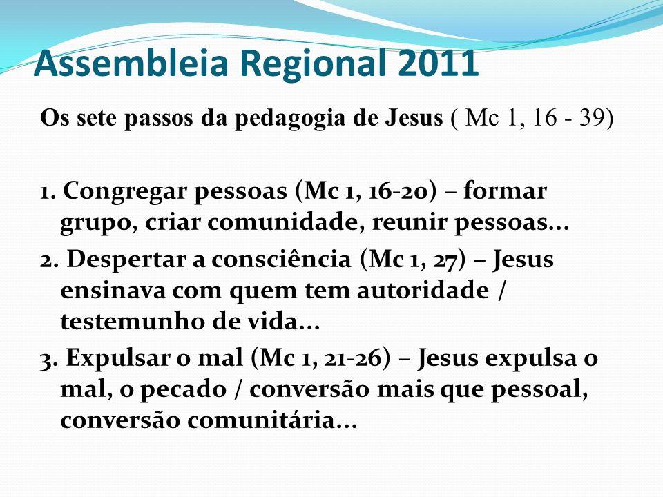 Assembleia Regional 2011 Os sete passos da pedagogia de Jesus ( Mc 1, 16 - 39) 1. Congregar pessoas (Mc 1, 16-20) – formar grupo, criar comunidade, re