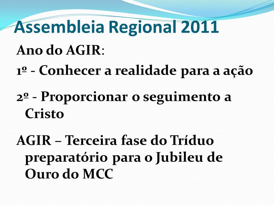 Assembleia Regional 2011 Ano do AGIR: 1º - Conhecer a realidade para a ação 2º - Proporcionar o seguimento a Cristo AGIR – Terceira fase do Tríduo pre