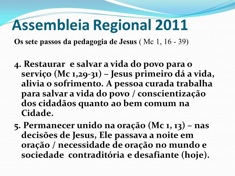 Assembleia Regional 2011 Os sete passos da pedagogia de Jesus ( Mc 1, 16 - 39) 4. Restaurar e salvar a vida do povo para o serviço (Mc 1,29-31) – Jesu