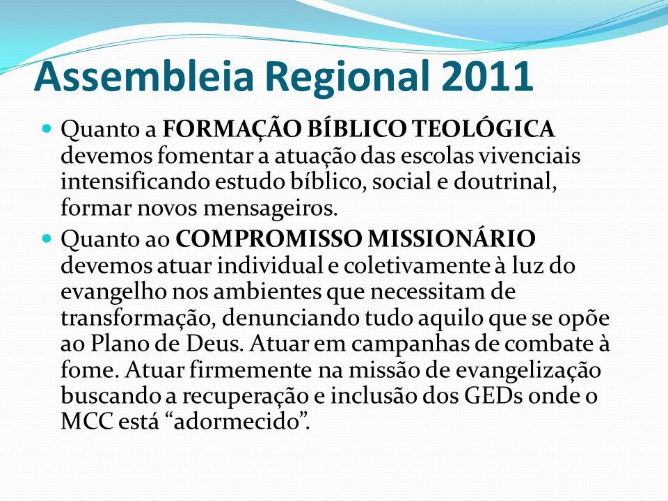 Assembleia Regional 2011 Quanto a FORMAÇÃO BÍBLICO TEOLÓGICA devemos fomentar a atuação das escolas vivenciais intensificando estudo bíblico, social e