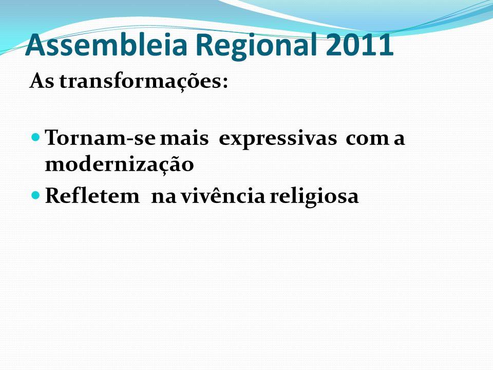 Assembleia Regional 2011 As transformações: Tornam-se mais expressivas com a modernização Refletem na vivência religiosa